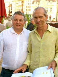 Olivier BOUSSARD et Michel MEUNIER lors du lancement du livre Une cuisine sarthoise